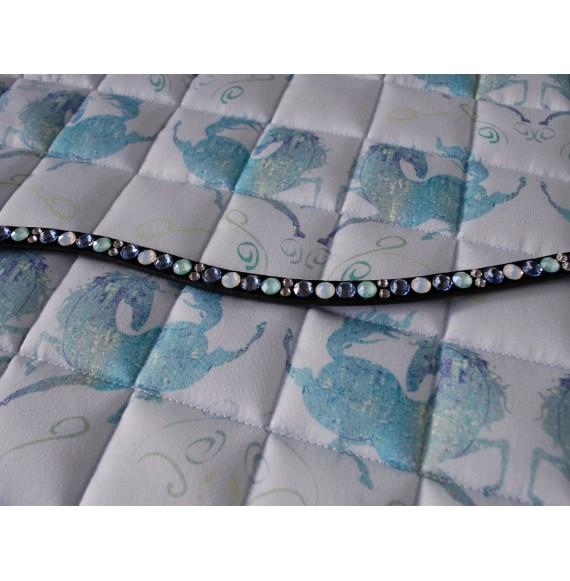 Glitzer Stirnriemen Slim mit Swarovski Kristallen Hellblau Mint