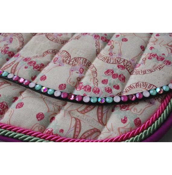 Schabracke & geschwungener Stirnriemen Rosa Pink Setpreis