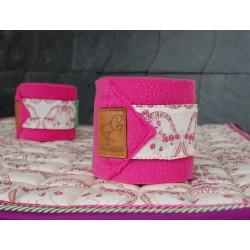 Fleece-Bandagen Pink Pferde-Motiv