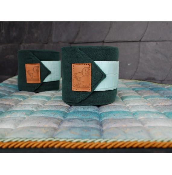 Fleece-Bandagen pferd dunkel-grün mint