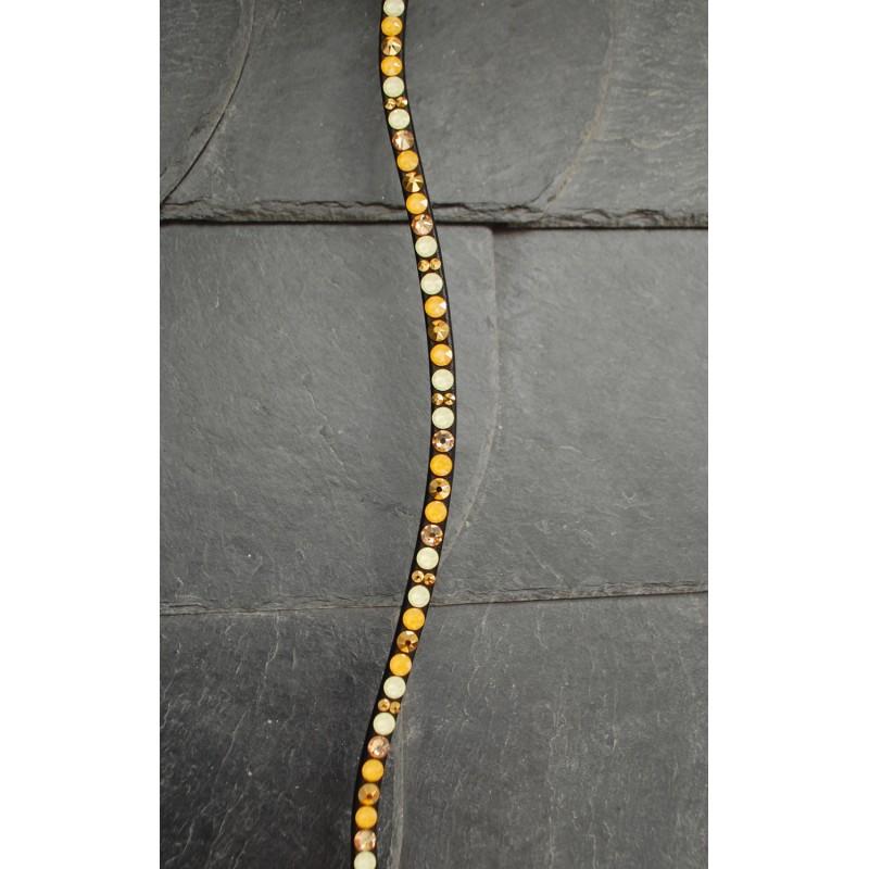 geschwungen Gl/ücksHucke Stirnriemen Pferd Ros/égold Gold Glitter mit gro/ßen Glitzer Steinen in Gold /& Crystal handgen/äht