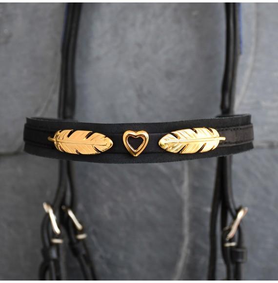 stirnriemen pferd schwarz gold