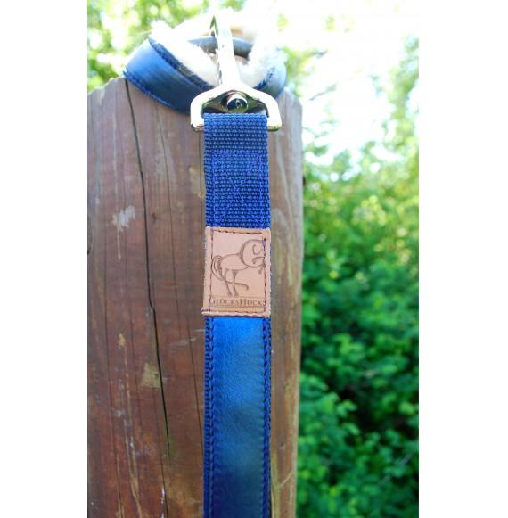 Führstrick 'Edelblau' mit Lederbesatz