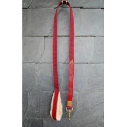 schöner, hochwertiger Führstrick 'Rothirsch' mit Lederbesatz rot