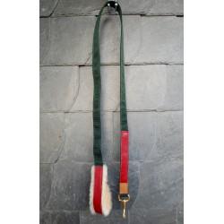 Hochwertiger Führstrick 'Pferdemarsch' mit Lederbesatz Dunkelgrün, Rot