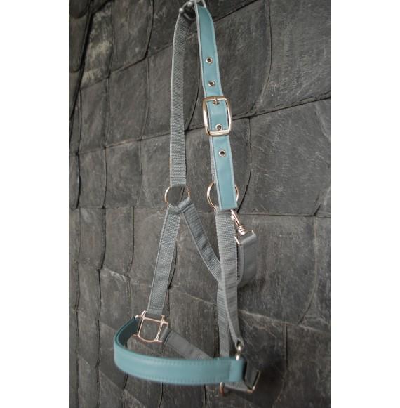 schönes, hochwertiges Halfter 'Eisblau' mit echtem Leder grau silber hellblau graublau