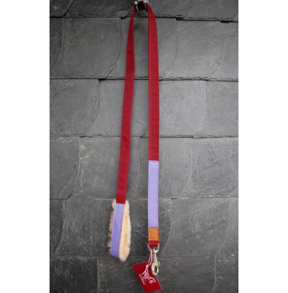 schöner, robuster Führstrick, Leine 'Königsblätter' mit Lederbesatz Rot Lila