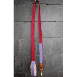 Führstrick, Strick, Leine 'Königsherz' mit Lederbesatz rot, lila