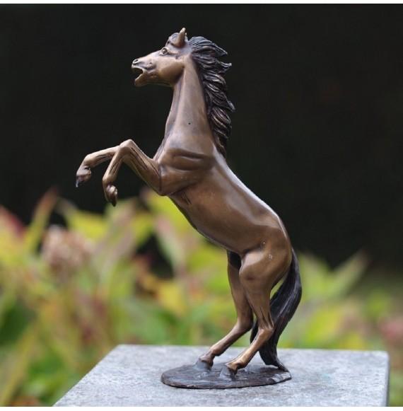 Kleine, hochwertige Bronzefigur Bronzepferd Dekofigur Pferd Pferdeskulptur, Pferdefigur 'Steigender Hengst' aus Bronze